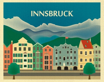 Innsbruck Skyline Art Print,  Innsbruck Austria Travel Print, Innsbruck horizontal art, Innsbruck art, Austria City Print, style E8-O-INN