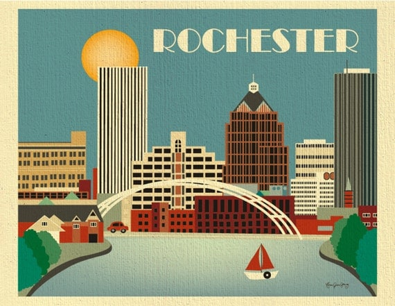 Rochester print ny skyline horizontal