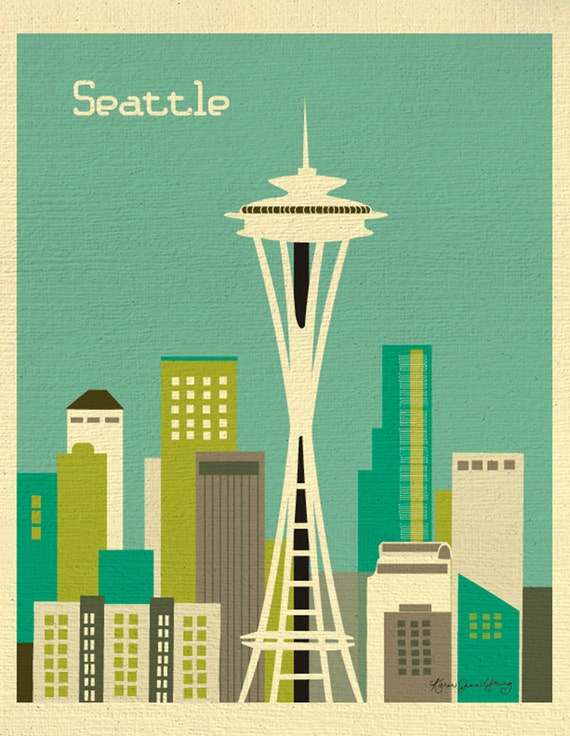 Seattle Skyline Art Map Print, Emerald City, Seattle Nursery, Seattle Retro Travel Poster, Vertical Loose Petals City Print - style E8-O-SE2