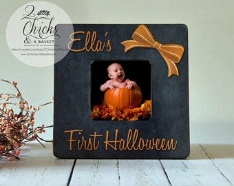 Babys First Halloween Picture Frame, Personalized Halloween Picture Frame, Rustic Frame, My First Halloween Frame, Halloween Gift Idea