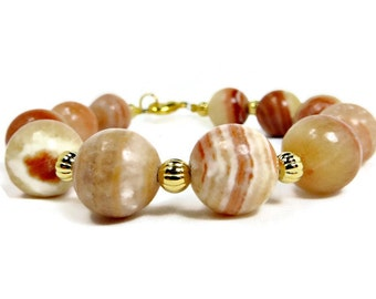 Red Malachite Round Beads and Gold Fluted Beads Bracelet