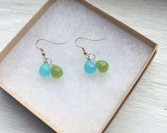 The Balloons- Plump Bright Blue and Green Chalcedony Stone Silver Earrings