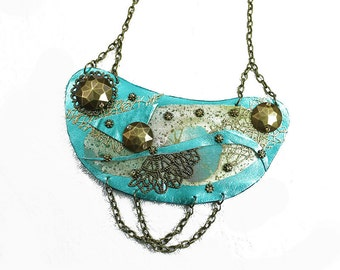 Metallic Turquoise Leather Bib Statement Necklace - Tribal - Collage necklace -  Shabby Chic - Steampunk - Vintage - Romantic