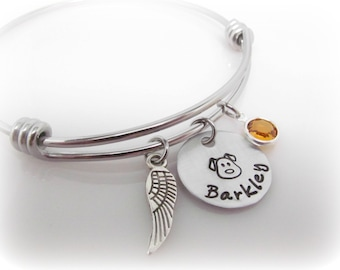 Dog Memorial Bracelet Custom Pet Name and Birthstone Pet Remembrance Pet Memorial Pet Loss Dog Remembrance Hand Stamped Adjustable Bracelet