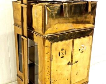 vintage brass bar cart - 1950s hollywood regency chinoiserie brass serving caddy bar cart