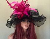 Black Fuscha Hot Pink Wide Brim Kentucky Derby Hat Sinamay Elegant  Feathers Adjustable