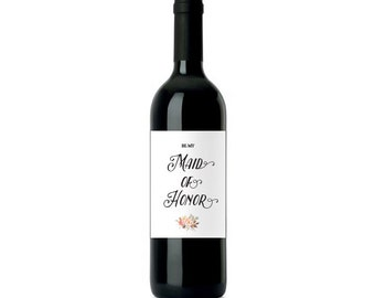 "Be My Maid of Honor WATERPROOF Wine Label 3.5x5"" white"