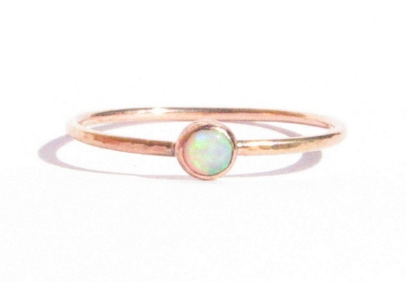SALEOpal Solid Rose Gold Ring Stacking Ring Thin Gold