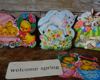 Vintage Easter Die Cut Cardboard Decoration Set of 4