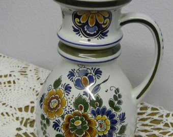 Artistic Delft Pitcher Handpainted 8 in. tall vtg Holland collectible