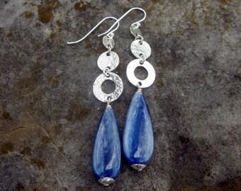 Kyanite drop earrings- Sterling silver - Made to order
