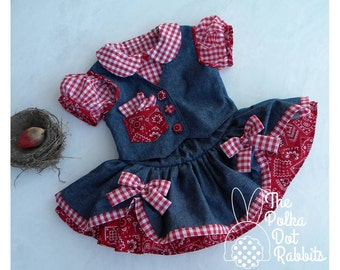 Toddler Girls Denim Cowgirl Pageant-Party Dress, 3 piece Twirl Skirt-Top-Vest Pageant-Party Set, Made to Order in sizes 12 month through 10