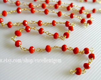28% off Wire Wrapped Beaded Chain 24k gold plated Rosary chain Red color faceted beads size 4*6 jewelry making-ARC-014(3 feet)