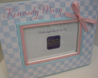 Checkerboard Frame- Personalized with or without Birthdate