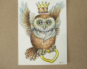 Original ACEO OWL with crown  Original Painting- Watercolor- Card -collectible- fine art -OAKK