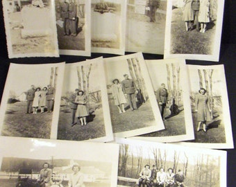 Vintage Photographs Black and White Snapshots Military Soldiers and Women 1943 Vernacular Photography Photos - Converged Commodities
