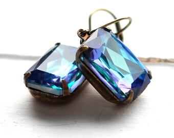 Ocean Blue Earrings, Czech Glass, Antique Brass Estate Style Leverback Earrings, Vintage Tropical Blue, Purple, Aqua, Teal Earrings