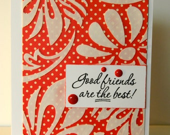 Handmade Friendship Card in Red and White
