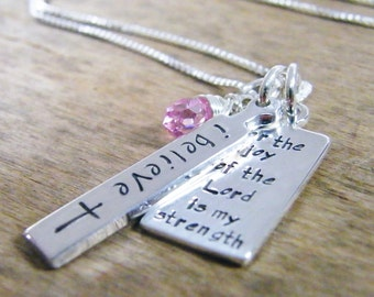 for the joy of the Lord is my strength hand stamped pendant necklace