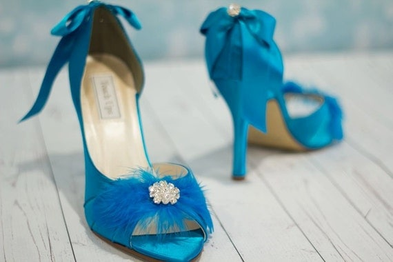turquoise wedding shoes