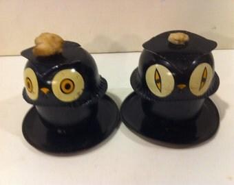 Pair of Vintage Tin Owl Oil Lamps
