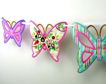 "Butterfly Bunting In The Hoop Banner Project Machine Embroidery Design Applique Patterns in 4  sizes 4"", 5"", 6"" and 7"""
