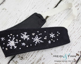 CLEARANCE Snowflake embroidered Organic Hairband Headband felt OOAK 12M - teen/adult ready to ship black silver