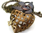Unique jewelry BONE HOUSE cage heart pendant necklace strange love heart necklace unique jewelry real bone necklace unusual necklaces