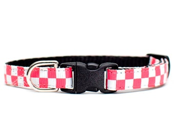 "Cat Collar - ""The Potluck"" - Red and White Checkered"