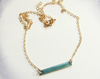 Gold and teal enamel bar choker necklace Delicate layering necklace Unique minimalist jewelry Metallic aqua green necklace