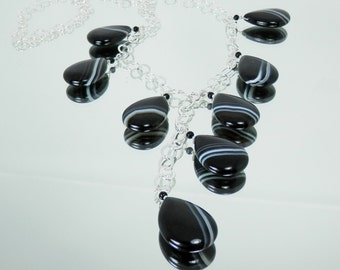 Black and White Striped Agate Drops Lariat Necklace on Sterling Silver Chain