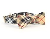 New Color! Huntington Plaid, Designer dog collars, Bow Tie Dog and Cat Collar Bow Tie Dog Wedding- Dog Collar, Wedding Dog Collar