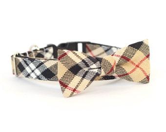 Huntington Plaid, Designer dog collars, Bow Tie Dog and Cat Collar Bow Tie Dog Wedding- Dog Collar, Wedding Dog Collar