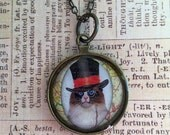 Steampunk Top Hat Kitty Necklace in Antique Bronze with Chain