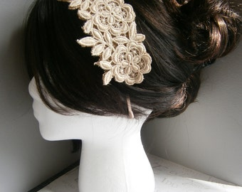 Ivory, beige, wedding, applique, headband, lace, applique, satin, Weddings, hair, accessory, facinator, Bridal, Fascinators, tan -CHAMPAGNE