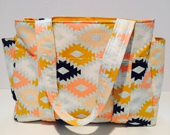 Ultimate Diaper Bag, Aztec Diaper Bag, Custom Diaper Bag, Large Diaper Bag