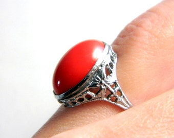 "Vintage Victorian Silver Rhodium Filigree Ring - Red Coral Art Glass Ring - 1/2"" High - Size 5.5"