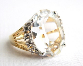 Vintage Gold Faux Diamond Rhinestone Ring - Oval Faceted Glass - 8 Carats - Signed Whiting Davis - Size 5 - NOS