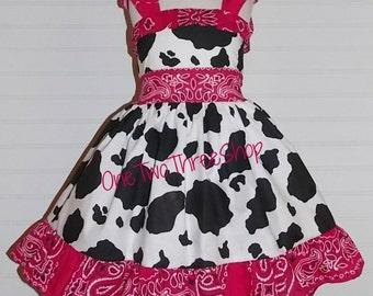 Custom Boutique Clothing  Western Girl  Cow Jumper  Dress