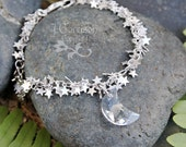 Silver stars & crystal crescent moon bracelet or anklet - clusters of tiny stars- silver plated, with Swarovski elements - free shipping USA