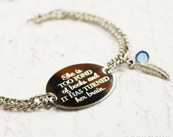 she is too fond of books Louisa May Alcott quote oval bracelet, stainless steel with swarovski crystal or pearl