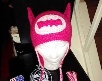 Pink Batgirl Hat w/Ears-All Sizes-Made To Order