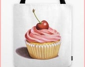 Pink Cupcake with a Cherry illustration tote shoulder bag watercolour illustration by Maine artist Patricia Shea