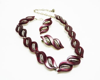 Red Wine Lucite Necklace Earring Set - Burgandy Vintage Jewellery - Mad Men Thermal Set