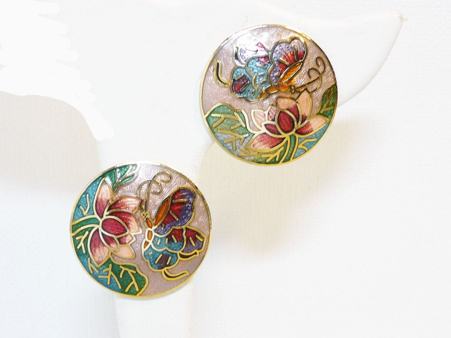 butterfly cloisonne earrings clip on vintage style