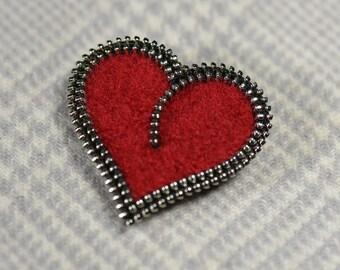 Zipper/Recycled Felted Wool Sweater Zipper Brooch/Pin- Red Heart with Silver Zipper