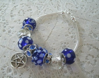 Blue Pentacle Bracelet, wiccan jewelry pagan jewelry wicca jewelry witch witchcraft pentagram goddess metaphysical gothic handfasting magic