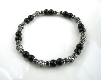 Antique Silver and Black Obsidian Stretch Bracelet Silver and Black Stacking Bracelet