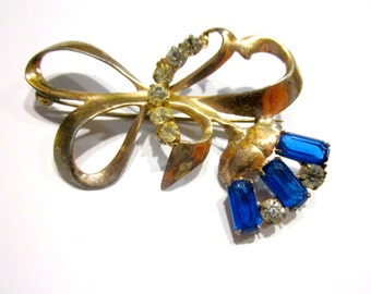 Sterling Blue Flower Brooch Gold Blue Rhinestone Brooch Pin Vintage Art Deco Jewelry Signed Sterling
