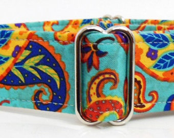 Paisley Adjustable Martingale Dog Collar - made to Order -